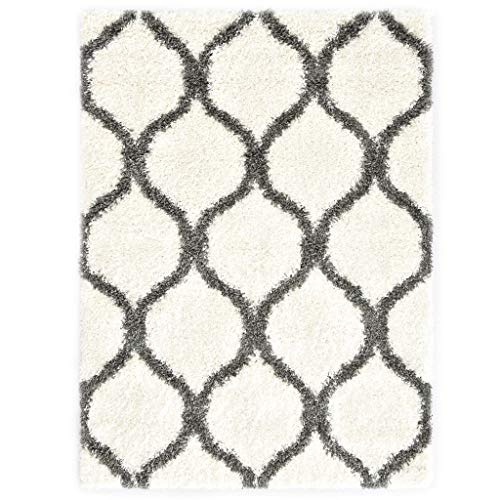 Vidaxl tappeto shaggy berbero naturale elegante con frange lavorate a mano pelo alto corsia passatoia in pp beige e grigio 80x150 cm