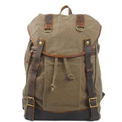 simplebase Unisex in Pelle con tela zaino Vintage Casual zaino borsa da palestra verde 6819green Standard 6848grey