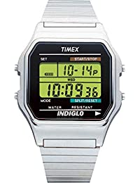 Timex Classic Men's T78587 Quartz Watch with Black Dial Digital Display and Silver Stainless Steel Bracelet