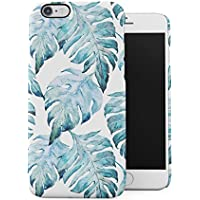 Tropical Pale Blue Jungle Leaves Floral Pattern Apple iPhone 6 / iPhone 6S Snap-On Hard Plastic Protective Shell Case Cover Carcasa