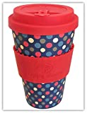 POLKA RETRO por Happy Earth (Taza de café ecológica reutilizable 450 ml, hecha con fibra de...