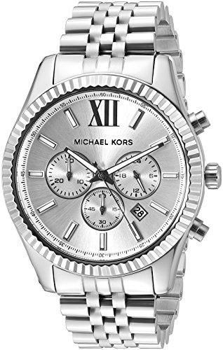 Michael Kors de cuero de los hombres MK8405 de Visualización analógico de cuarzo analógico Lexington reloj de plata