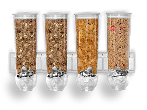 Müslispender zur Wandmontage, 1-fach, 2-fach, 3-fach, luftdichter, transparenter Behälter mit integrierter Auffangschale, geeignet für Müsli, Cornflakes, Tierfutter und Süßigkeiten, frische und saubere Aufbewahrung White Set of 4