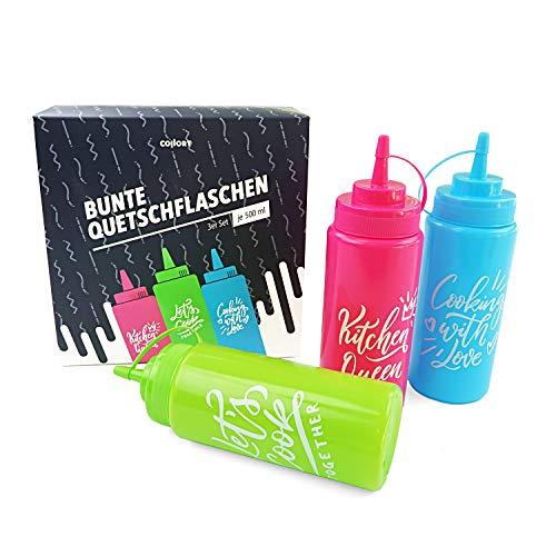 Collory Quetschflaschen Set (3 Flaschen je 500ml), farbige Dosierflaschen für Saucen, Dressing, Ketchup, Senf, Mayo und Flüssigteig, Gewürzflasche, extra Soft