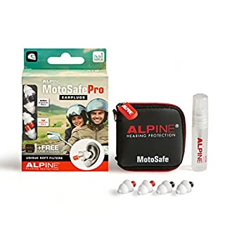 Alpine MotoSafe Pro - Motorcycle Ear Plugs - Soft Filters for Comfort -  2 Complete Sets, Average and Heavy Attenuation