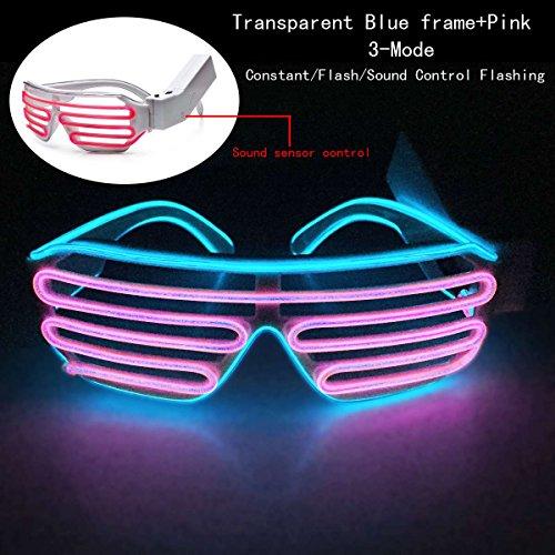 Enjoydeal EL Draht LED leuchten Shutter Wayfarer Rave Brille W£¬Sound Adjustment£¬Transparent Blauer Rahmen und Rosa