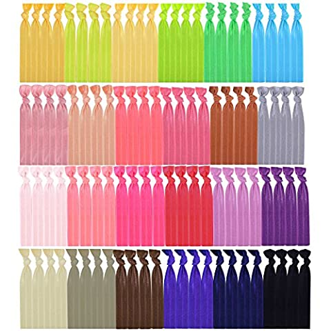 Mudder 100 Pieces Elastic Hair Ties No Crease Elastic Ribbon Ponytail Holders Hair Bands for Girls Women Teens and Kids Bows (Multicolor A)