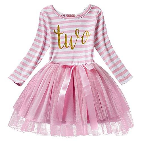 Neugeborene Säuglings Kleinkind Baby Mädchen Ist es Mein 1. / 2. / 3. Geburtstags Gestreiften Tüll Tütü Prinzessin Kleid mit Bowknot Partykleid Fotoshooting Outfits Kostüm Rosa (Material Girl Rosa Kleid Kostüm)