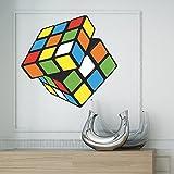 Full Farbe Große Retro Rubiks Cube Game Große Fun Spiele Kinder Schlafzimmer Kids Spielzimmer oder Lounge Wohnzimmer Wandaufkleber aus Vinyl Wall Aufkleber Wandbild