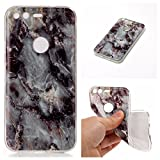 Google Pixel Marble Case Cover, Cozy Hut Soft Back Cover for Google Pixel Silicone Case Ultra Thin Anti-Scratch Shock Proof Silicone Rubber TPU Bumper Protective Back Case Cover with Cool Marble Stone Print Pattern for Google Pixel - Gray marble