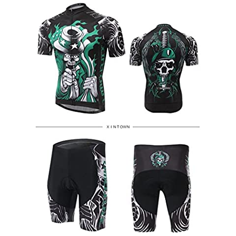XINTOWN Summer Breathable Quick Dry Lightweight Comfortable Men Short Sleeve Jersey + Padded Shorts Cycling Suit Clothing Set Riding Sportswear ( Color : The souls of the Master , Size : L )