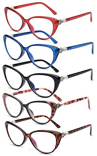 VEVESMUNDO Lesebrillen Damen Herren Frauen Vintage Katzenauge Mode Brille Mode Lesehilfe Sehhilfe Mit Stärke (5 Stück(schwarz+rot+blau+rosa Blumen+schildpatt), 3.0)