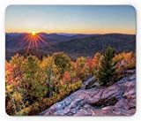 Adirondack Mouse Pad, Colorful Autumn Sunset Over Seneca Mountain Hill Covered with Thick Green Forest, Standard Size Rectangle Non-Slip Rubber Mousepad, Multicolor