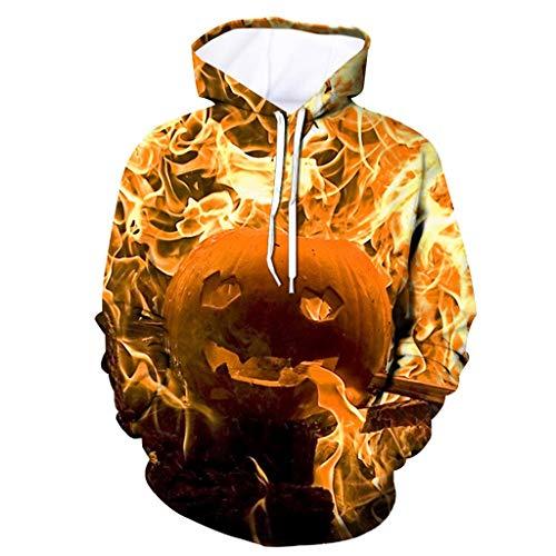 Bearbelly Unisex 3D Druck Hoodie Kapuzenpullover Langarm Sweatshirt Kapuzenjacke - Herren Halloween Kostüm Kürbis Gedruckt Drawstring Long Sleeve Sweatshirt, - Asiatische Joker Kostüm