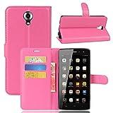GARITANE Homtom HT7 Hülle Case Brieftasche mit Kartenfächer Handyhülle Schutzhülle Lederhülle Standerfunktion Magnet für Homtom HT7 (Hot Pink)