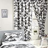 Pricerighthome Camouflage Grau Design Einzelne Bettbezug Cover Set + Passende Vorhänge 66in x 72in (168cm x 183cm)