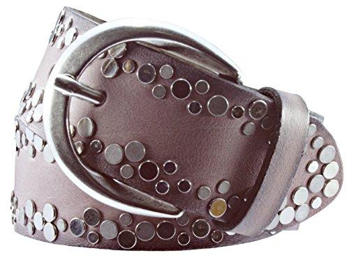 Vanzetti Damen Leder Nieten Gürtel Belt Ledergürtel Damengürtel Rosa 40mm Eindornschließe, mit Airbrushkanten (80 cm)