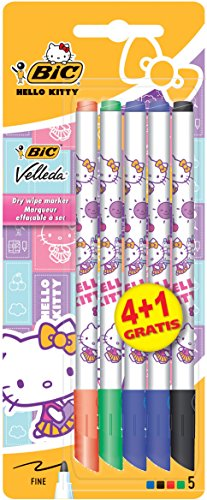 bic-hello-kitty-designed-velleda-1721-dry-wipe-markers-pack-of-4-plus-1-free