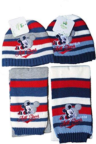 Disney Micky Maus Baby Winterset - 2er Pack - Baby All Stars - Mütze und Schal - Grau/Blau/Rot/Weiß/Mehrfarbig - Bundle by MLS Kids