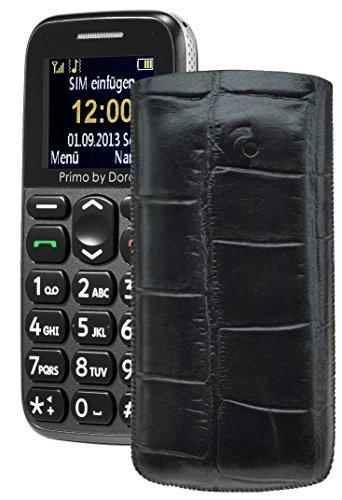 Primo 365 by Doro / Original Suncase Etui Tasche Leder Etui Handytasche Ledertasche Schutzhülle Case Hülle Lasche *mit Rückzugfunktion* croco-schwarz