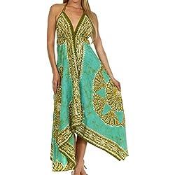 Sakkas B02 - vestido batik tipo pañuelo ajustable con bajo el pecho -alheña / Menta-One Size