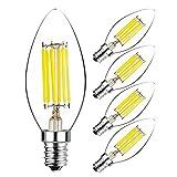 Hzsane C35 E14 LED Kerze Leuchtmittel 6W, entspricht 60W Glühbirnen, 6000K Tageslicht Weiß Kandelaber E14 SES Leuchtmittel, 600lm, LED Leuchtmittel, kleine Edison Schraube Kerze Lampen, 5-Pack