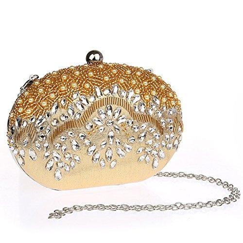 KAXIDY Forma Unica Donna Pochette da Sera Cerimonia Raso Borsa Tracolla Oro
