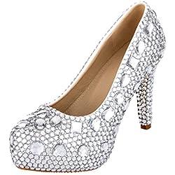 VELCANS Strass Plattform High Heels für Hochzeit, Braut, Brautjungfer, Abend und Ball Pumpen Damen Schuhe (42, Silber)