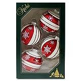 Weihnachtskugeln Christbaumkugeln 4 Kugeln in rot und cremefarben mit Schneesternen mundgeblasener Baumschmuck aus Glas mit Ø ca. 6,5 cm