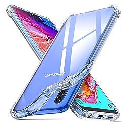 ORNARTO Hülle für Samsung A70, Transparent Soft TPU Silikon Handyhülle Vier Ecke Kante Stoßdämpfung Design Kratzfest Durchsichtige Schutzhülle für Samsung Galaxy A70(2019) 6,7 Zoll Klar