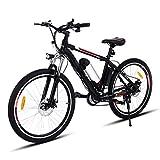 Teamyy Vélo Electrique Homme Phare LED VTT 26 Pouces Vitesses Jusqu'à 35 km/h Avec Batterie lithium Bicyclette E Bike Noir (EU Stock)