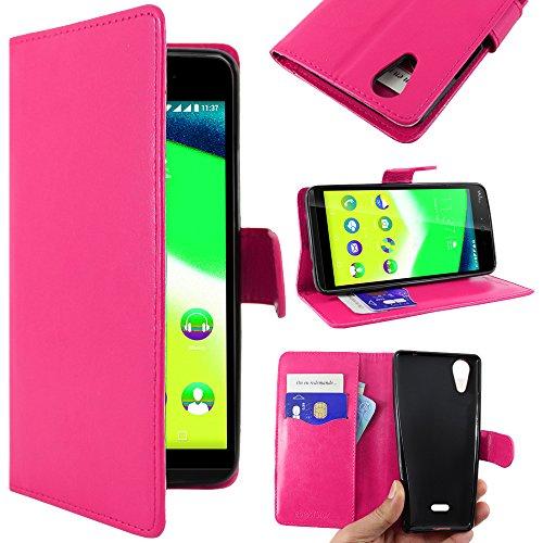 ebestStar - Wiko Rainbow Jam 4G Hülle Kunstleder Wallet Case Handyhülle [PU Leder], Kartenfächern, Standfunktion, Pink [Phone: 143.1 x 71.4 x 8.7mm, 5.0'']