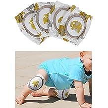 Rovtop 2 Pares Rodilleras Protector 100% Algodon de la Rodilla con Almohadillas para bebés,