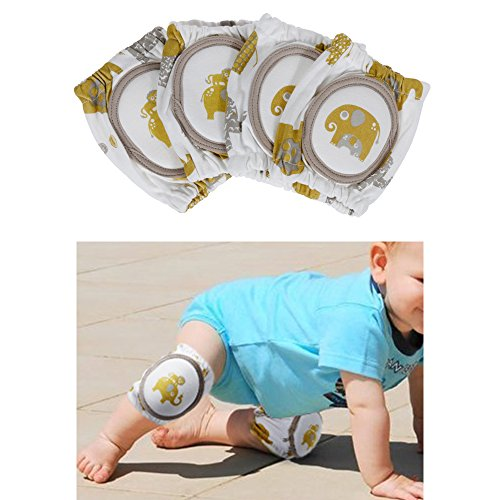 Rovtop 2 Pares Rodilleras Protector 100% Algodon de la Rodilla con Almohadillas para bebés, Tinabless Respirable Ajustable Elástico Unisex Codo infantil Protector de seguridad(2 Pares)