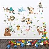 Stickers muraux drôles d'animaux de la tribu indienne pour les chambres d'enfants décoration de la maison dessin animé hibou Lion ours renard stickers muraux Pvc Mural art...