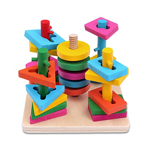 Schramm® Kinder Holz Steckplatte Steckspiel Geschicklichkeitsspiel 21- teilig für Kinder Holzspielzeug Steckpuzzle Sortierspiel Stapelspiel Motorikspielzeug - Stapeln Spielzeug Kinder