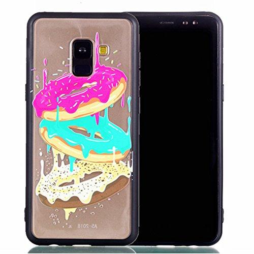 Preisvergleich Produktbild Hülle für Galaxy A5 2018/A8 2018 Silikonhülle Dünn, 2 in 1 Premium Matt TPU Case Transparent Handyhüllen Ultra Slim Cover Bumper-Style TPU mit von Relief Muster für Samsung Galaxy A5 2018/A8 2018 Case Cover ( S ) (9)