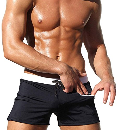 b1ec45c762 Hommes Maillots de bain Boxer Shorts Sports Surf Board Trunks Man Swim Suits  Summer Noir XL