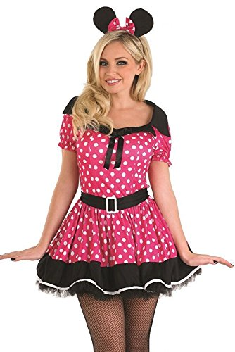 Fancy Me Damen rosa Fräulein Minnie Maus Party Kostüm Outfit 8-22 Übergröße - Rosa, - Übergröße Maus Kostüm