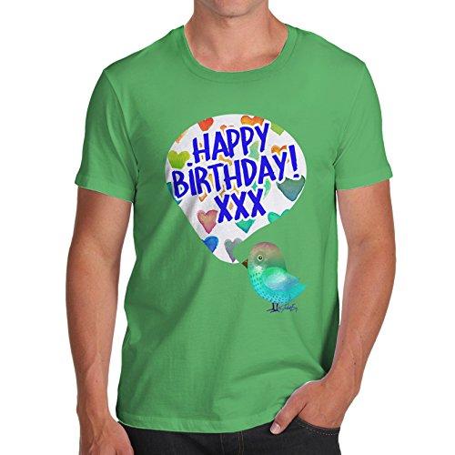 Herren Happy Birdy Birthday T-Shirt Grün