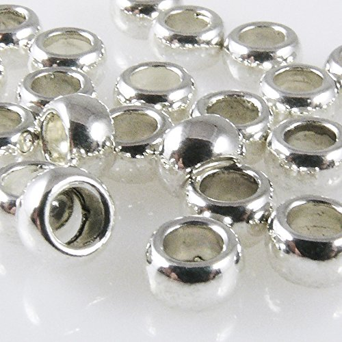 25 Metallperlen Perlen 3x5mm Spacer Großlochperlen silber Metallrocailles -