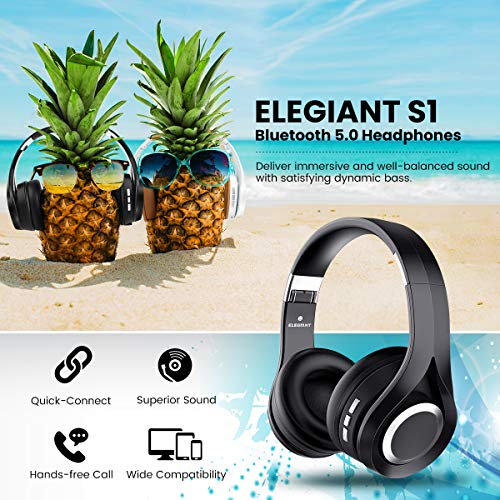 Bluetooth Kopfhörer, ELEGIANT Bluetooth 4.1 Wireless Stereo Headset drahtlose Kopfhörer Ohrhörer On Ear Kopfhörer + Mic/Freisprechfunktion + 3,5mm Audio AUX für Smartphone - 2