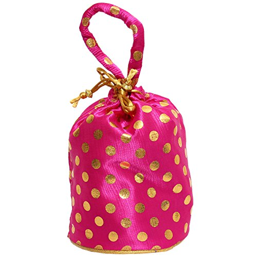 Bagaholics Ethnic Clutch Silk Potli Batwa Pouch Bag with Metal Beadwork (Pink)  available at amazon for Rs.125