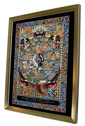 Modern Picture Thangka Buddha Lebensrad Druck Leinwandbild mit schönen goldenen Holzrahmen 40x50 cm