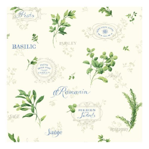 york-wallcoverings-kh7048-kitchen-and-bath-aromatique-wallpaper-cream-blue-green-shining-silver-by-y