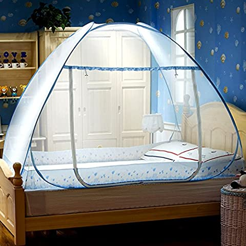 Les yourtes, fermeture éclair de pliage de moustiquaires,Prévenir les rideaux de la Tente Pop Up pour décor de chambre à coucher Lits de fleurs, Thousand-Blue Moustiquaires yourte, 1,5 m (5 ft) Lit