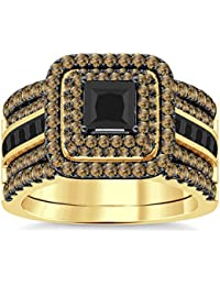 Silvernshine Enhancer Ring Guard & Engagement Ring Set Yellow Gold Plated Citrine Sim Diamonds