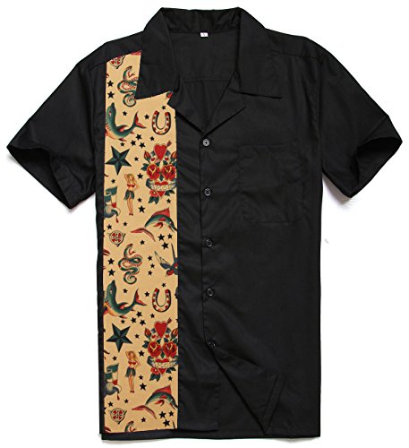 Candow Look tattoo partten retro hombres camisas button down workshirts