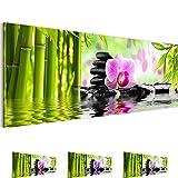 Bilder 110 x 40 cm - Orchidee Bild - Vlies Leinwand - Kunstdrucke -Wandbild - XXL Format – mehrere Farben und Größen im Shop - Fertig Aufgespannt !!! 100% MADE IN GERMANY !!! - Feng Shui – Bambus – Orchidee 502011a