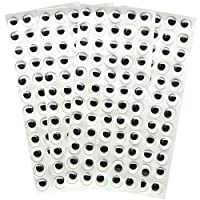 15 mm Peel and Stick Wiggle Eyes Sheets of 60, Pack of 240, Black